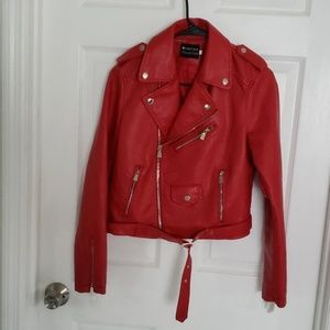 Nasty Gal Red faux leather moto jacket NWOTL